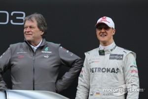 Norbert Haug, Mercedes Sporting Director with Michael Schumacher, Mercedes GP- Mercedes F1 W03 Launch
