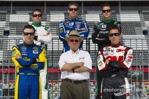 Jack Roush poses with his drivers, Matt Kenseth, Ricky Stenhouse Jr., Carl Edwards, Trevor Bayne and Greg Biffle
