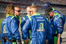 Germain Racing Ford team members confer before the race
