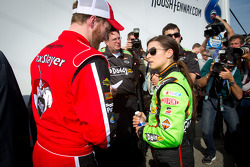 Pole winner Danica Patrick, JR Motorsports Chevrolet with Dale Earnhardt Jr., JR Motorsports Chevrolet
