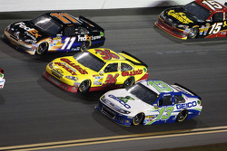 Denny Hamlin, Joe Gibbs Racing Toyota, Dave Blaney, Tommy Baldwin Racing Chevrolet and Casey Mears, Germain Racing Ford