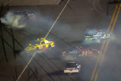 Crash with Tony Stewart, Stewart-Haas Racing Chevrolet, Ricky Stenhouse Jr., Roush Fenway Racing Ford, Dave Blaney, Tommy Baldwin Racing Chevrolet, and David Reutimann, BK Racing Toyota