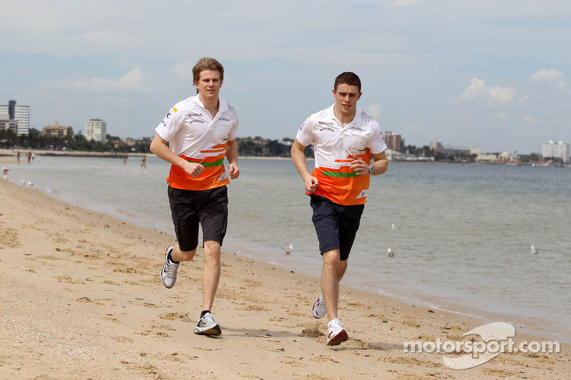 Nico Hulkenberg, Sahara Force India Formula One Team and Paul di Resta, Sahara Force India Formula One Team