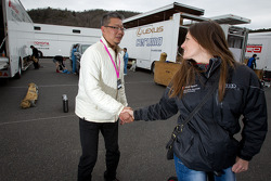 Cyndie Allemann with Hitotsuyama Racing chief engineer Oniki