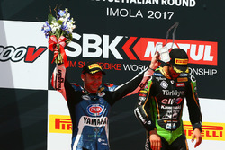 Podium: race winner Kenan Sofuoglu, Kawasaki Puccetti Racing, second place Lucas Mahias, GRT Yamaha Official WorldSSP Team,