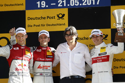 Podium: Race winner Jamie Green, Audi Sport Team Rosberg, Audi RS 5 DTM, second place Mattias Ekström, Audi Sport Team Abt Sportsline, Audi A5 DTM, third place Robert Wickens, Mercedes-AMG Team HWA, Mercedes-AMG C63 DTM
