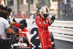 Sebastian Vettel, Ferrari SF70H, 1st psition, celebrates after winning the race