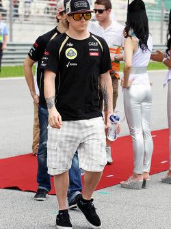 Kimi Raikkonen, Lotus F1 Team tijdens de rijdersparade
