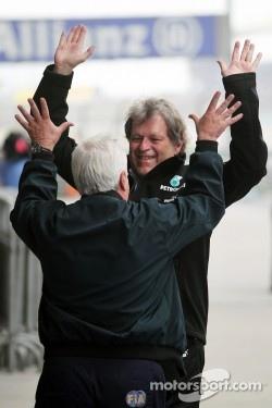 Norbert Haug, Mercedes Sporting Director celebrates victory for Nico Rosberg, Mercedes AMG F1
