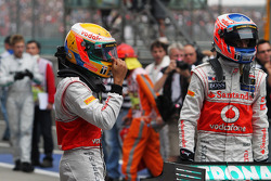 Lewis Hamilton, McLaren in parc ferme with Jenson Button, McLaren