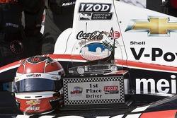 Helmet and trophy of race winner Will Power