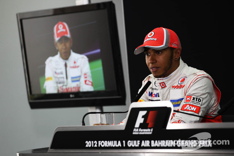 Lewis Hamilton, McLaren Mercedes in de FIA persconferentie