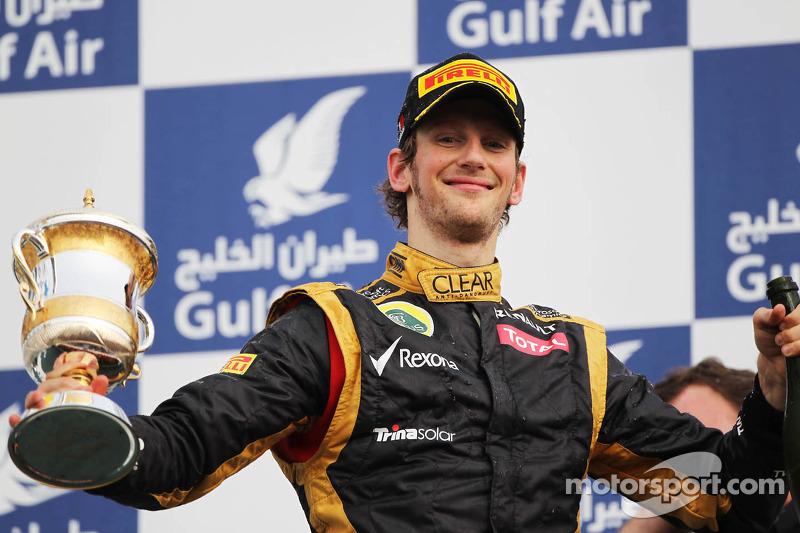 Romain Grosjean, Lotus F1 Team op het podium