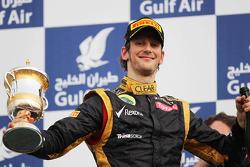 Romain Grosjean, Lotus F1 Team celebrates his third position on the podium