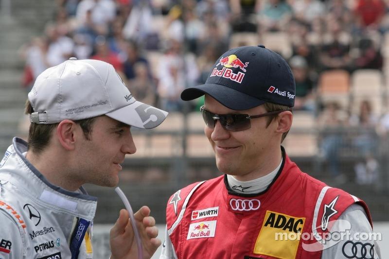 Jamie Green, Team HWA AMG Mercedes, AMG Mercedes C-Coupe en Mattias Ekström, Audi Sport Team Abt Sportsline, Audi A5 DTM