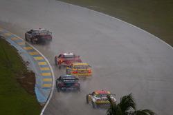 #88 Autohaus Motorsports Camaro GT.R: Paul Edwards, Jordan Taylor leads a group of cars