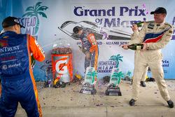 DP podium: Darren Law sprays champagne