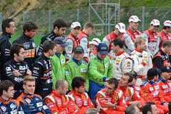 WEC Drivers preparing for a group shot