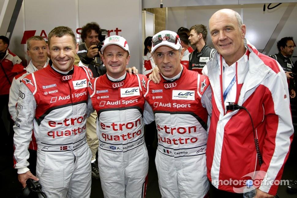 Polesitters Tom Kristensen, Allan McNish, Rinaldo Capello and Dr. Wolfgang Ullrich, head of Audi Motorsport