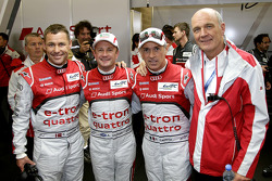 Polesitters Tom Kristensen, Allan McNish, Rinaldo Capello and Dr. Wolfgang Ullrich, head of Audi Motorsport