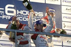 LMP1 Podium: Race winners, Romain Dumas, Loic Duval, Marc Gene