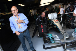 Patrick Stewart, in the Mercedes AMG F1 garage