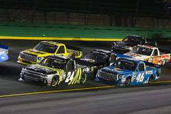 Justin Haley, Fraternal Order of Eagles Chevrolet Silverado, Cody Coughlin, ThorSport Racing Toyota, Parker Kligerman, Henderson Motorsports Toyota, and Kyle Busch, Kyle Busch Motorsports Toyota