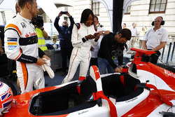 Jenson Button, McLaren, Naomi Campbell get in to the 2 seater demo car