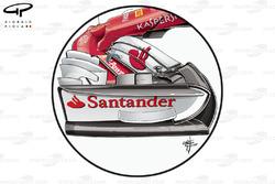 Ferrari SF70H nieuwe endplate en neus, GP van Groot-Brittannië