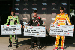 Pole winner Ryan Briscoe, Team Penske Chevrolet, second fastest James Hinchcliffe, Andretti Autosport Chevrolet, third fastest Ryan Hunter-Reay, Andretti Autosport Chevrolet