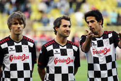 Charles Pic, Marussia F1 Team with Timo Glock, Marussia F1 Team and Lucas di Grassi, at the charity football match