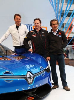 Laurens Van Den Acker, Renault Industrial Design Director; Christian Horner, Red Bull Racing Team Principal; and Alain Prost, unveil the Renault Alpine A110-50 Concept car on the Red Bull Energy Station