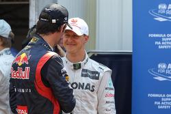 Mark Webber, Red Bull Racing en Michael Schumacher, Mercedes AMG Petronas