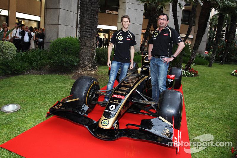 Romain Grosjean, Lotus F1 Team en Eric Boullier, Lotus F1 Team Principal