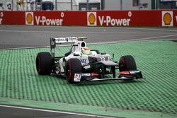 Sergio Perez, Sauber F1 Team runs wide at the final chicane