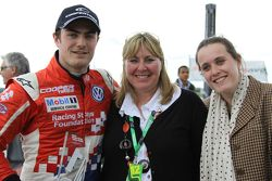Jack Harvey and his mother and sister