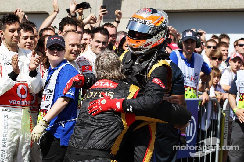 Romain Grosjean, Lotus F1 Team celebrates his second position in parc ferme