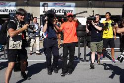 Lewis Hamilton, McLaren Mercedes guides the Sky F1 cameraman