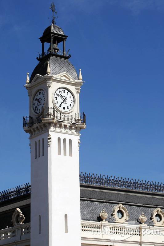 Clock tower overlooking the paddock
