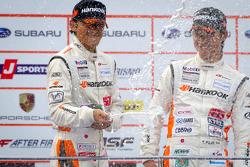 GT300 podium: winners Masami Kageyama and Tomonobu Fujii