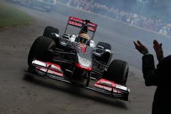 Lewis Hamilton drives his McLaren