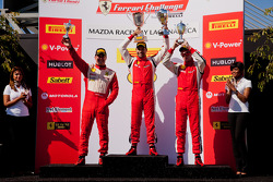 458 TP podium: first place Alex Popow, second place Onofrio Triarsi, third place Enzo Potolicchio