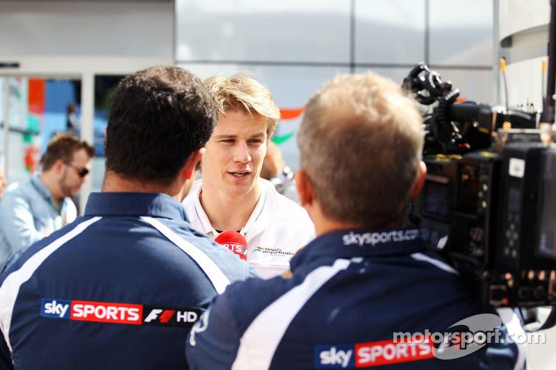 Nico Hulkenberg, Sahara Force India F1 interviewed by Ted Kravitz, Sky Sports Pitlane Reporter