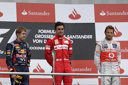 2nd Sebastian Vettel, Red Bull Racing, 1st Fernando Alonso, Scuderia Ferrari, 3rd Jenson Button, McLaren Mercedes