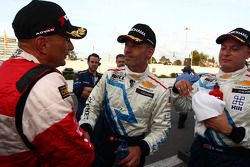 Third place Gabriele Tarquini, second place Alain Menu, winner Robert Huff