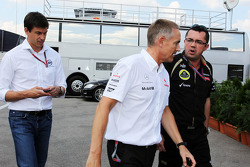 Toto Wolff, Williams Non Executive Director; Martin Whitmarsh, McLaren Chief Executive Officer and Eric Boullier, Lotus F1 Team Principal head to a meeting with Bernie Ecclestone, CEO Formula One Group