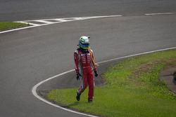 Satoshi Motoyama not happy after the start crash