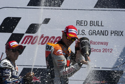 Podium: race winner Casey Stoner, Repsol Honda Team, second place Jorge Lorenzo, Yamaha Factory Racing