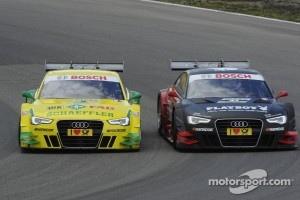 Mike Rockenfeller, Audi Sport Team Phoenix Racing Audi A5 DTM side by side with Edoardo Mortara, Audi Sport Team Rosberg Audi A5 DTM