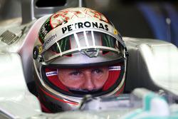 Michael Schumacher, Mercedes AMG F1 with new helmet design